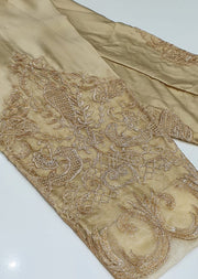 DXT214 Gold Silk Embroidered Trouser - Memsaab Online