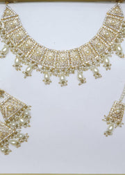 Mahrukh -Gold/Pearls- Aari Gold Plated Necklace Set with Fresh Water Pearls - Memsaab Online