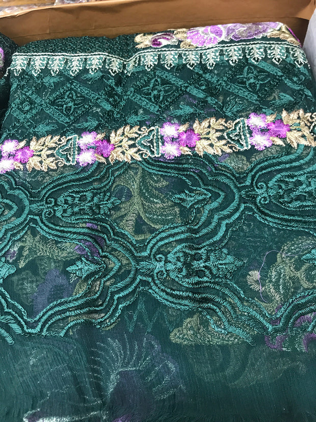 05 Venus - Green - Unstitched - Chantelle Embroidered Chiffon by Baroque - Memsaab Online