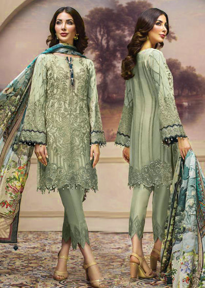 08 Shahwar - Unstitched - Green - SHAHNAMEH Embroidered Chiffon Eid Collection by Jazmin - Unstitched Pakistani elite Designer suit - Memsaab Online
