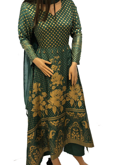 1018 Readymade Green Long Dress by Sofia Shaan - Memsaab Online