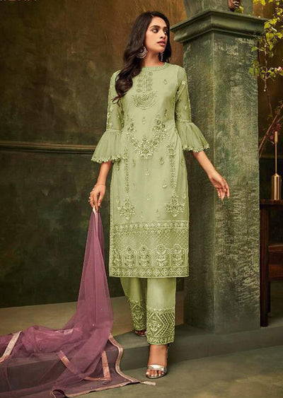 Green - Unstitched ZIONA Inspired Embroidery Suit - Memsaab Online