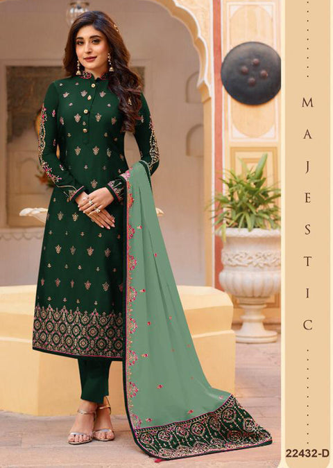 22432 - Green Unstitched Embrodered Salwar kameez - Memsaab Online