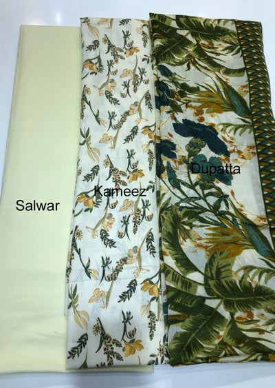 Heer - Green - Winter Printed suits Suit with printed shawl - Unstitched - Memsaab Online