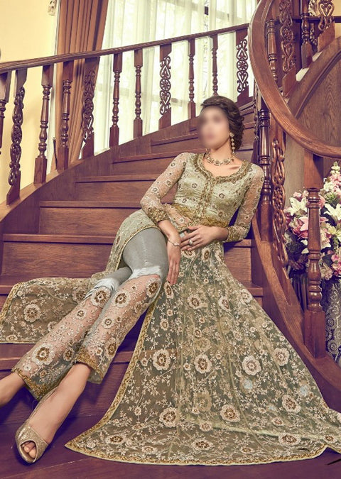 6003 Green Unstitched Net Dress - Memsaab Online