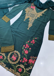 D3 Readymade Green Linen Embroidered Suit - Memsaab Online