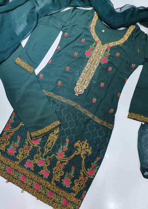 D4 Readymade D Green Linen Embroidered Suit - Memsaab Online