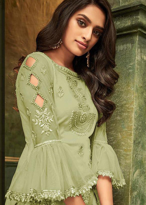 32008 - Green - Unstitched ZIONA Inspired Embroidery Suit - Memsaab Online