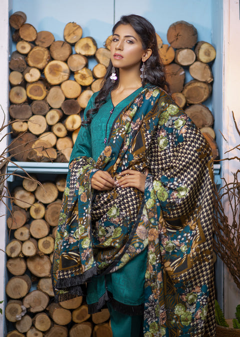 Green Readymade Marina Winter Shawl Suit - Pakistani Designer - Memsaab Online