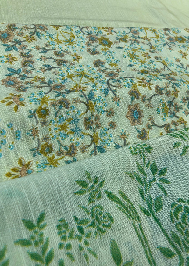 Daisy - Green - Winter Printed suits Suit with printed shawl - Unstitched - Memsaab Online
