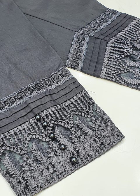 DXT04 Grey Embroidered Trouser - Memsaab Online
