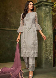 Grey - Unstitched ZIONA Inspired Embroidery Suit - Memsaab Online