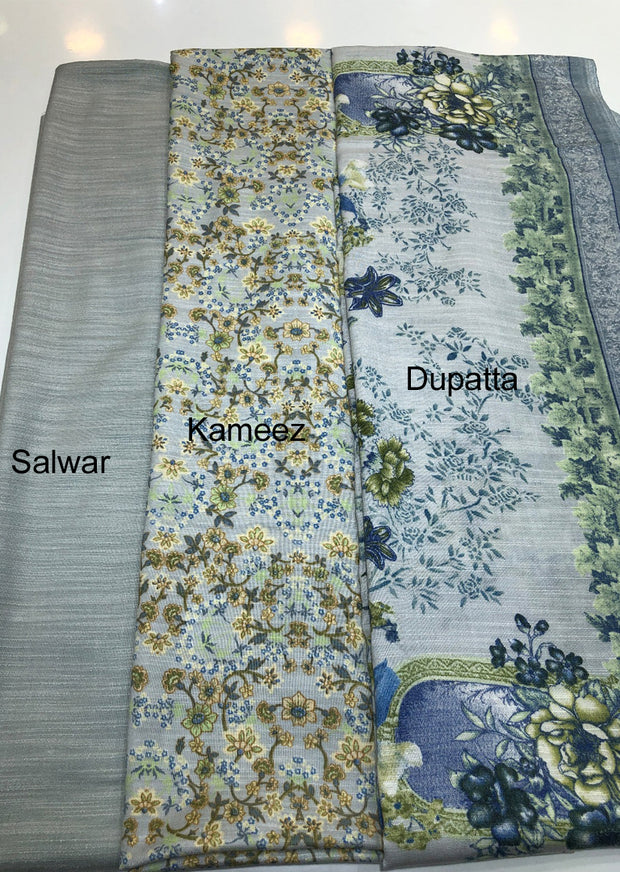 Daisy - Grey - Winter Printed suits Suit with printed shawl - Unstitched - Memsaab Online
