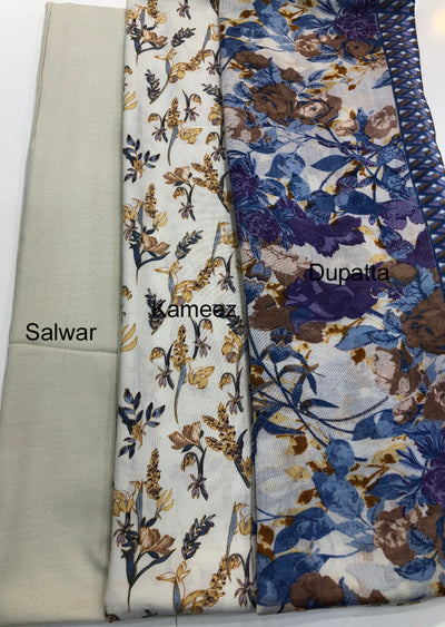 Heer - Grey - Winter Printed suits Suit with printed shawl - Unstitched - Memsaab Online
