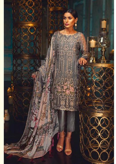 D4 Taupe Rose - Grey - Unstitched - Chantelle Embroidered Chiffon by Baroque - Memsaab Online