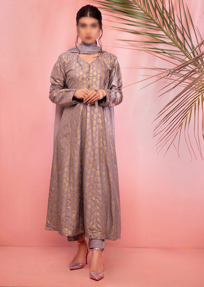 HK18 Readymade Grey Printed Dress - Memsaab Online
