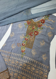 D5 Readymade Grey Linen Embroidered Suit - Memsaab Online