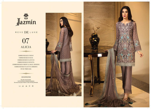 07 Alicia - Grey - Unstitched - Jazmin Embroidered Chiffon by Baroque - Memsaab Online