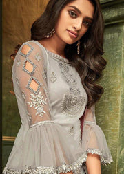 32008 - Grey - Unstitched ZIONA Inspired Embroidery Suit - Memsaab Online