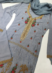 D4 Readymade Grey Linen Embroidered Suit - Memsaab Online