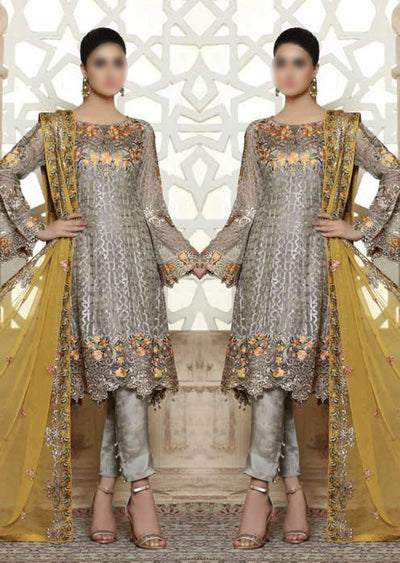 D-202R Grey Yellow - Readymade - Ramsha Rangoon Readymade - Memsaab Online