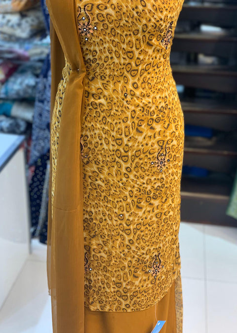 Memsaab Premium Printed Chiffon Suits with Mirror Work - Memsaab Online