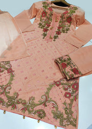 HK24 Readymade Peach Embroidered Linen Suit - Memsaab Online