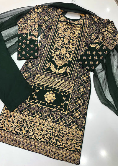 HK22 Readymade Green Printed Suit - Memsaab Online