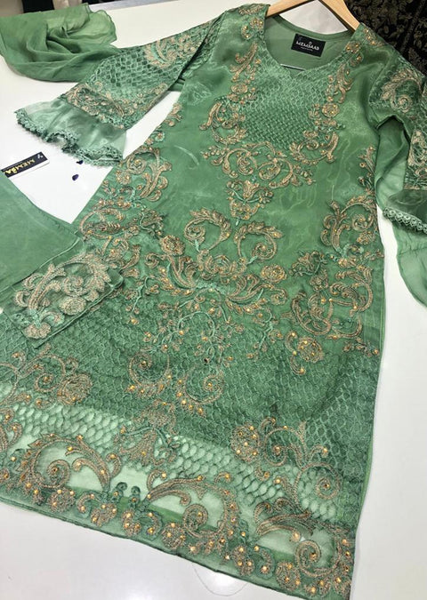 HK43 Mint Embroidered Organza Suitr - Memsaab Online