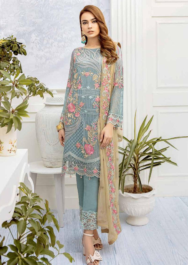 Ideal Appeals - Unstitched Chiffon Suit - Chevron Vol 2 Ramsha - Memsaab Online