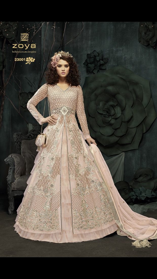 ZM23001 Unstitched - Baby Pink - Memsaab Zoya Amrose - Indian Embroidered Dress - Memsaab Online