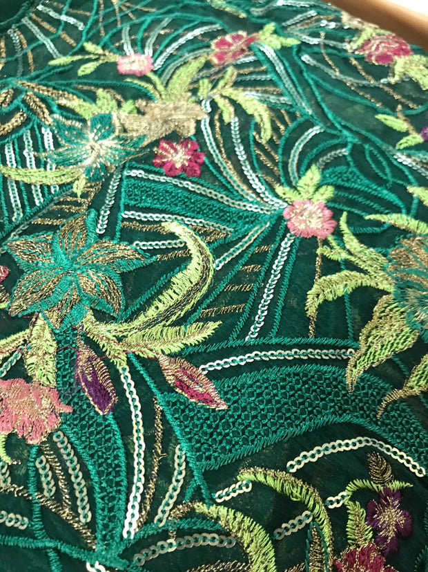 01 Rouge - Green - CHANTELLE - Baroque Embroidered Chiffon Fancy Pakistani Designer Suit