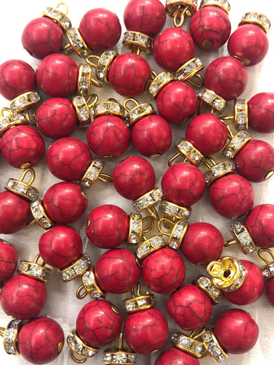 4 x Red Beads - Pakistani Indian ethnic Beads Hangings Embellishments Pearls - Memsaab Online