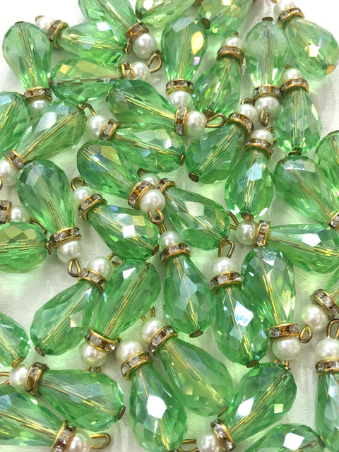 4 x Green Beads - Pakistani Indian ethnic Beads Hangings Embellishments Pearls - Memsaab Online