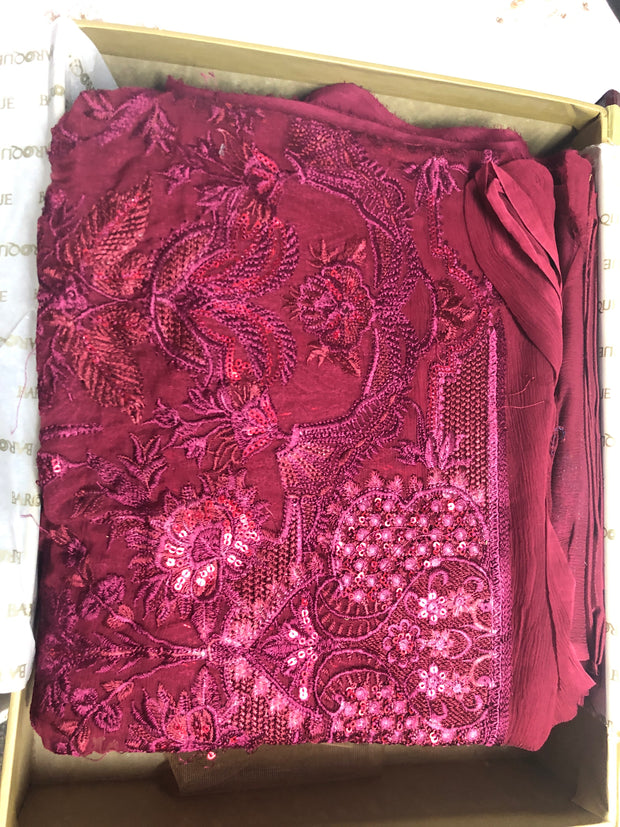 Cerise - Maroon Unstitched Baroque Chantelle Embroidered Chiffon Suit - Memsaab Online