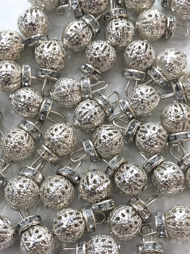 4 x Silver Round Metal Bead with Diamante Work - Pakistani Indian ethnic Beads Hangings Embellishments Pearls - Memsaab Online