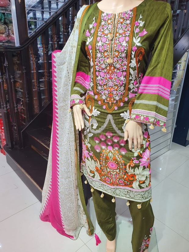 SM01 - Mendhi Green Readymade Simrans Lawn Luxury Collection Vol 2 2020 - Memsaab Online
