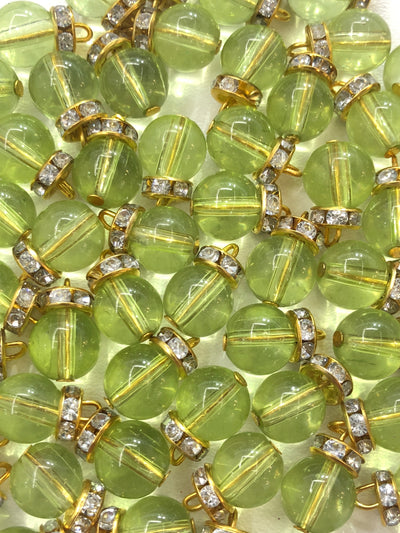 4 x Lime Green Beeds - Pakistani Indian ethnic Beads Hangings Embellishments Pearls - Memsaab Online