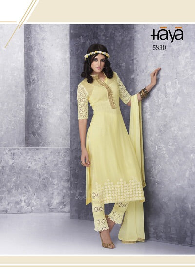 Hay5830 light yellow Haya chiffon collection - Memsaab Online