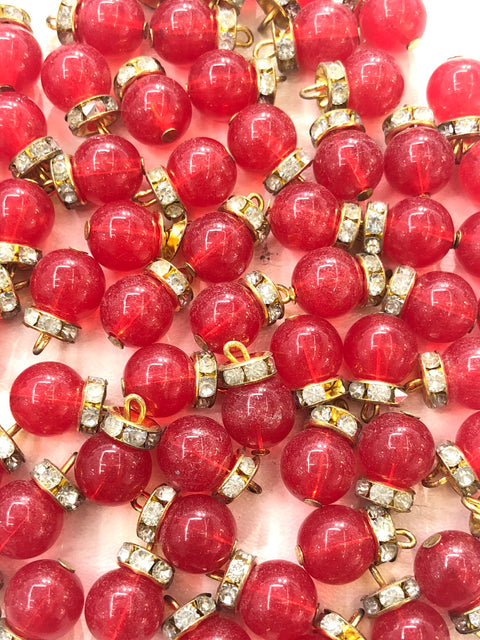 4 x Plain Red Beads - Pakistani Indian ethnic Beads Hangings Embellishments Pearls - Memsaab Online