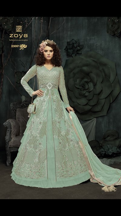 ZM23001 Unstitched - Turquoise - Memsaab Zoya Amrose - Indian Embroidered Dress - Memsaab Online
