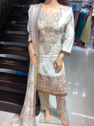SDQ32B Readymade Cream Embroidered Summer Lawn Suit with Brown Lace - Memsaab Online