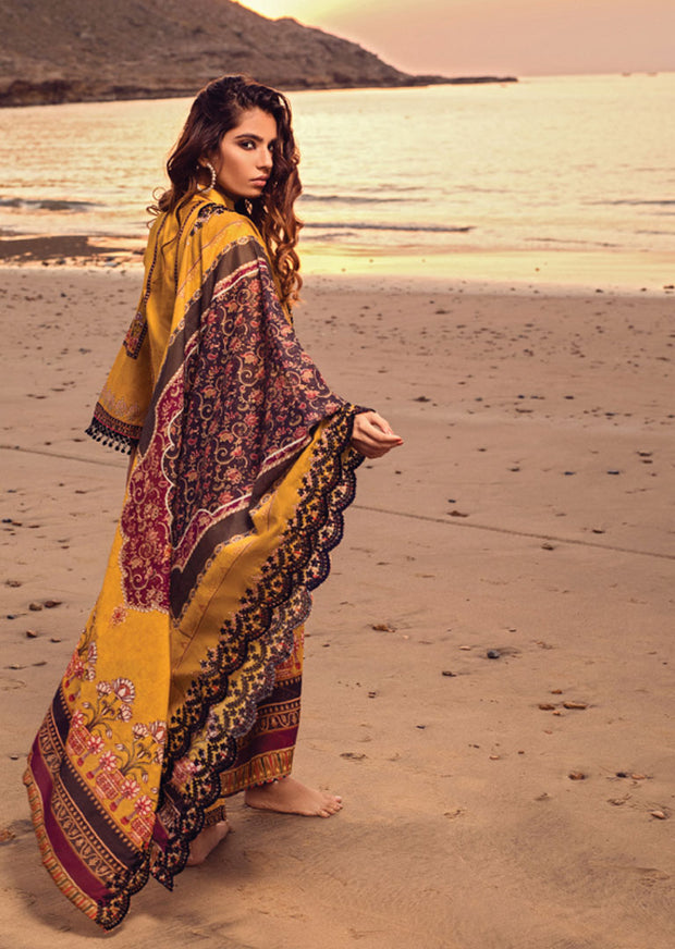 Yellow Unstitched Digital Printed Embroidered Lawn Suit - Iman by Regalia - Memsaab Online