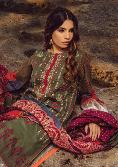 Green Unstitched Digital Printed Embroidered Lawn Suit - Iman by Regalia - Memsaab Online