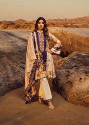 Off White Unstitched Digital Printed Embroidered Lawn Suit - Iman by Regalia - Memsaab Online