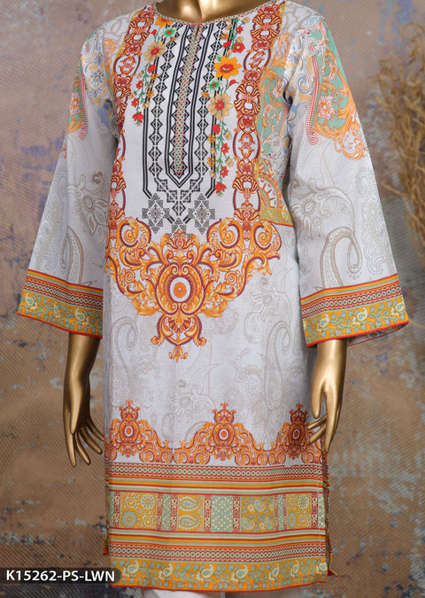 K15262 Sha Posh Off White Readymade Embroidered Sumer Lawn Kurti - Memsaab Online