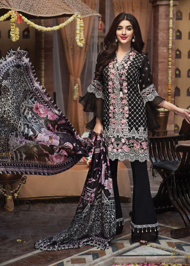 Laila - Anaya by Kiran Chaudhry - Festive Collection 2019 - Unstitched Pakistan Designer Embroidered Lawn Original Suit - Memsaab Online