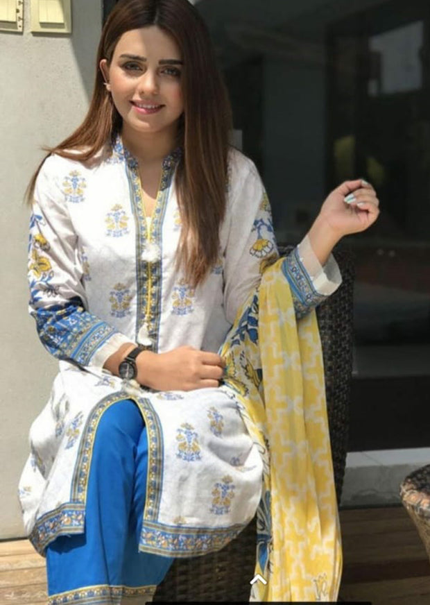 4662-IG-White - Sha Posh - Readytowear - Lawn Design Pakistani Casual-wear Dress - Memsaab Online