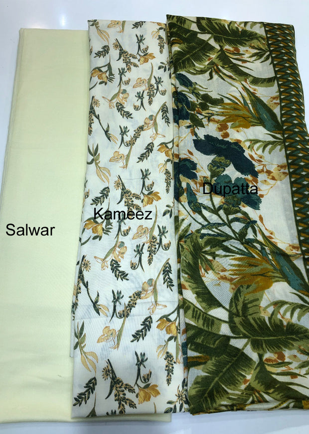 Qurban - Lemon - Winter Printed suits Suit with printed shawl - Unstitched - Memsaab Online