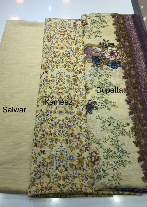 Daisy - Light Gold - Winter Printed suits Suit with printed shawl - Unstitched - Memsaab Online